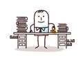Cartoon employee man working at his desk Royalty Free Stock Photo
