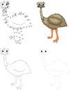 Cartoon emu. Dot to dot game for kids Royalty Free Stock Photo