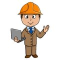 Cartoon engineer with notebook in helmet vector illustration Stock Image