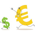 Cartoon euro sign chasing dollar sign vector illustration of a big and scaring a small Royalty Free Stock Photography