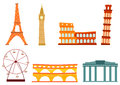 Cartoon european buildings set of colorful on a white background Royalty Free Stock Photo