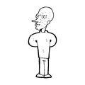 Cartoon evil bald man black and white line in retro style vector available Stock Photo