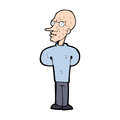 Cartoon evil bald man hand drawn illustration in retro style vector available Royalty Free Stock Image
