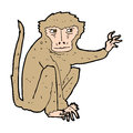 Cartoon evil monkey hand drawn illustration in retro style vector available Royalty Free Stock Photos