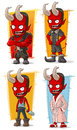 Cartoon evil red devil with big horns characters vector set