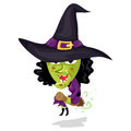 Cartoon Evil Witch Flying on Broom