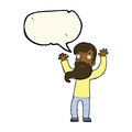 cartoon excited man with beard with speech bubble Royalty Free Stock Photo