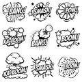 Cartoon explode icons. Comic book explosion bubbles. Pop art big bang and boom smoke clouds vector set Royalty Free Stock Photo