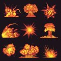 Cartoon explosions. Fire bang with smoke effect of explode dynamite. Danger explosive, bomb detonation atomic flash Royalty Free Stock Photo