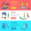 Cartoon Extreme Sports People Banner Horizontal Set . Vector
