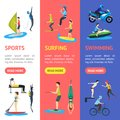 Cartoon Extreme Sports People Banner Vecrtical Set. Vector
