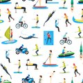 Cartoon Extreme Sports People Seamless Pattern Background. Vector