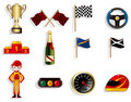 Cartoon f1 car racing icon set Stock Photography