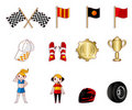 Cartoon f1 car racing icon set Stock Photos