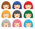 Cartoon face emotions set of girl Stock Image