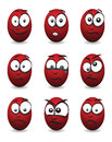 Cartoon face group a red Stock Image