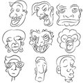 Cartoon Face Set Stock Photos