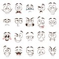 Cartoon faces. Caricature comic emotions with different expressions. Expressive eyes and mouth, funny flat vector Royalty Free Stock Photo
