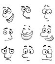 Cartoon faces with emotions set for comics design Royalty Free Stock Images