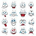 Cartoon faces. Expressive eyes and mouth Royalty Free Stock Photo