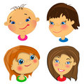 Cartoon faces of kids. set of illustrations Royalty Free Stock Photography