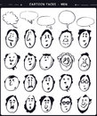 Cartoon faces men ink drawing Royalty Free Stock Image
