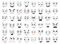 Cartoon faces set. Angry, laughing, smiling, crying, scared and other expressions. Vector Royalty Free Stock Photo
