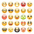 Cartoon Facial Expression Smile Icons Set Royalty Free Stock Photo