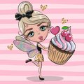 Cartoon fairy girl with Cupcake on a pink background