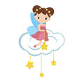 Cartoon fairy sitting on the cloud