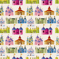 Cartoon Fairy tale castle seamless pattern Royalty Free Stock Photos