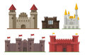 Cartoon fairy tale castle tower icon cute architecture fantasy house fairytale medieval and princess stronghold design