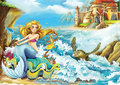 Cartoon fairy tale illustration for the children beautiful and colorful Royalty Free Stock Photo