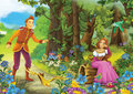 Cartoon fairy tale illustration for the children beautiful and colorful Stock Photos
