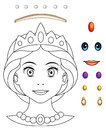 Cartoon fairy tale scene with - beautiful manga girl face - exercise for children Royalty Free Stock Photo