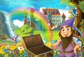 Cartoon fairy tale scene with dwarf in the field full of flowers near wooden chest small waterfall colorful rainbow and bi
