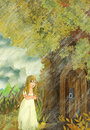 Cartoon fairy tale scene with a young little girl living in a tree house - standing near the door Royalty Free Stock Photo