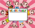 Cartoon family card Royalty Free Stock Photo