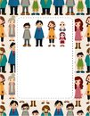 Cartoon family card Stock Images