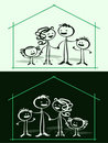 Cartoon family & home Royalty Free Stock Images