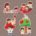 Cartoon family stickers Royalty Free Stock Photo