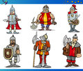 Cartoon fantasy knights characters set illustrations of fairytale or Royalty Free Stock Photos