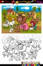 Cartoon farm animals for coloring book or page illustration set of black and white characters in country scene children Stock Images