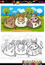 Cartoon farm animals coloring page book or illustration of country rural scene with goat and bull and ram characters for children Royalty Free Stock Photos