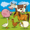 Cartoon farm animals group illustration of funny characters Stock Images