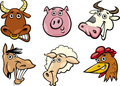 Cartoon farm animals heads set Royalty Free Stock Image