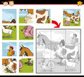 Cartoon farm animals jigsaw puzzle illustration of education game for preschool children with funny group Royalty Free Stock Photography