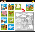 Cartoon farm animals jigsaw puzzle illustration of education game for preschool children with funny group Stock Photography