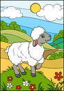 Cartoon farm animals for kids. Little cute sheep. Royalty Free Stock Photo