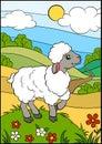 Cartoon farm animals for kids. Little cute sheep. Royalty Free Stock Photo